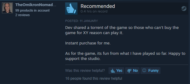 Steam reviews after he gave it away