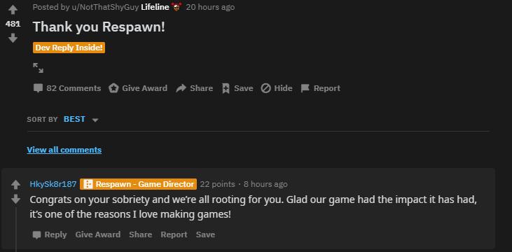 Respawn replied