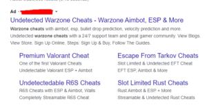 Warzone cheat ad on google