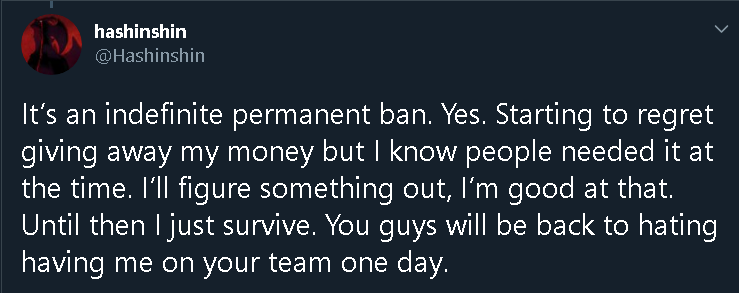 Hashinshin response to perma banned