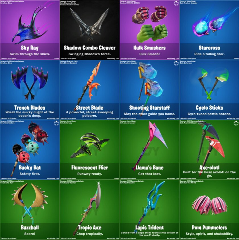 Fortnite 13.40 update Pickaxes and Glider