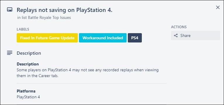 Fortnite replay not saving PS4 bug