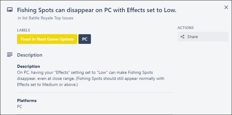 Fortnite fishing spots disappear bug