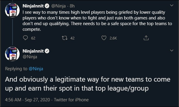 Ninja shares his opinion about competitive Fortnite