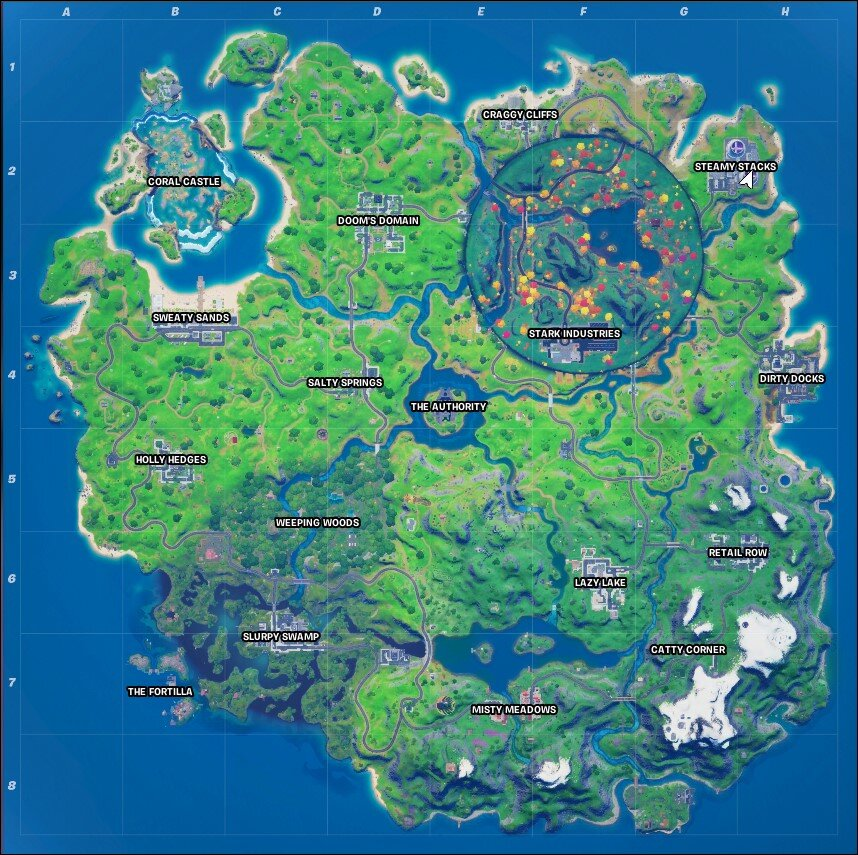 Steamy Stacks Location in map