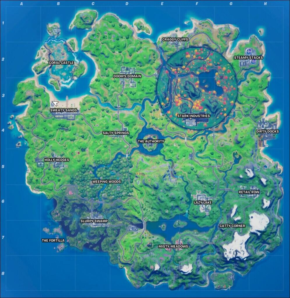 Fortnite The Aftermath challenge location on map