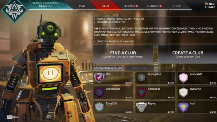 Apex Legends clubs