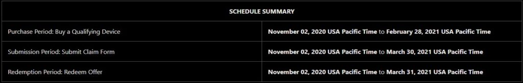 Important dates for claiming the Fortnite offer