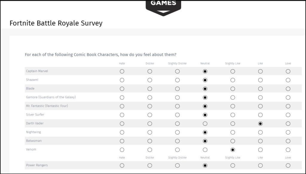 Fortnite Battle Royale Survey image 1
