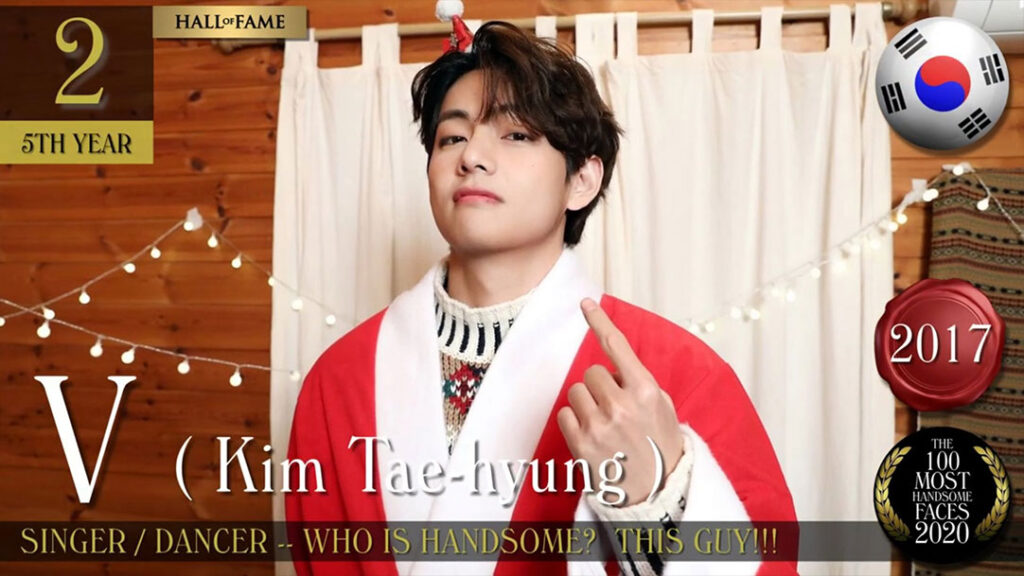Kim Tae-hyung 2nd spot top 100 most handsome faces 2020