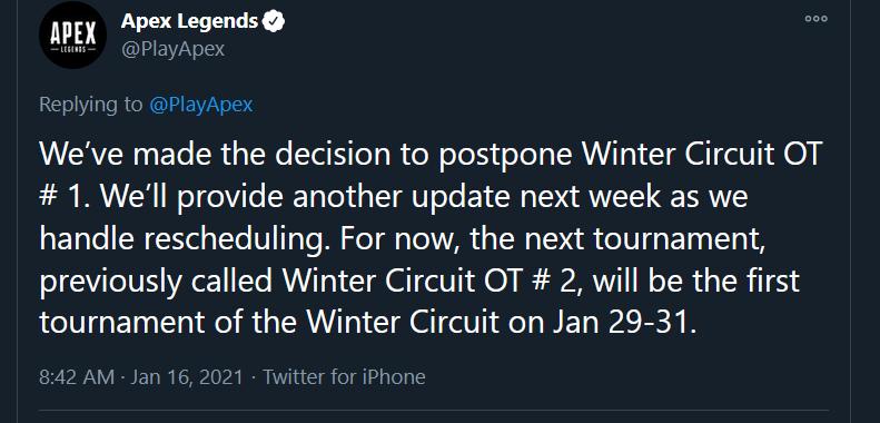 Apex Legends Winter Circuit postponed