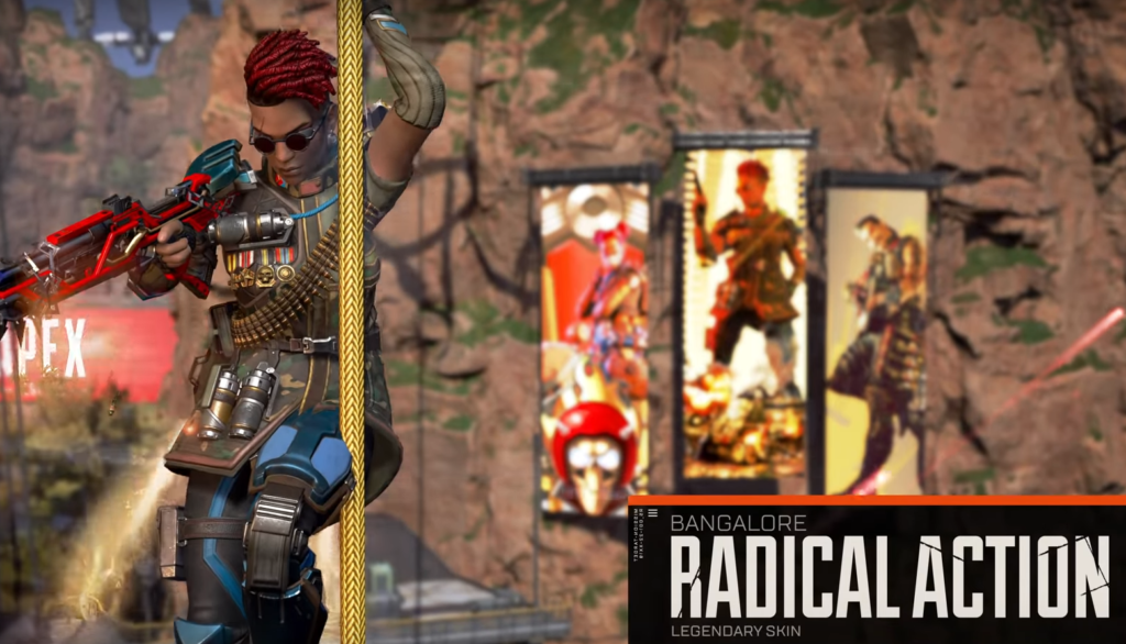 Bangalore season 8 battle pass Radical Action skin