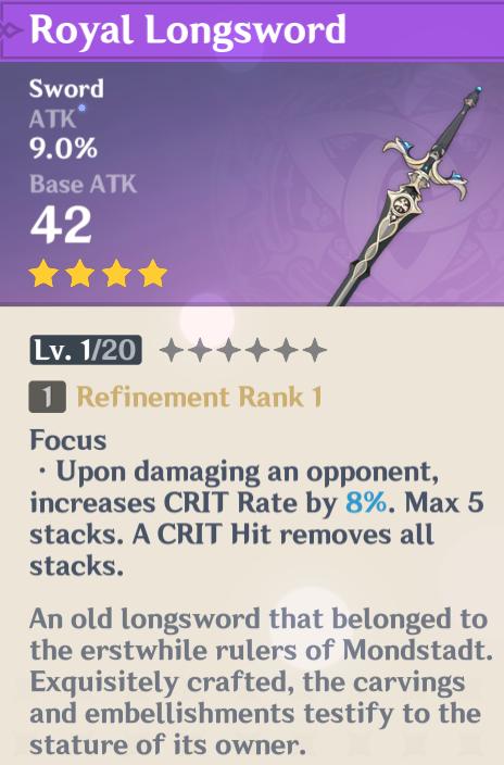 Royal weapon set stats