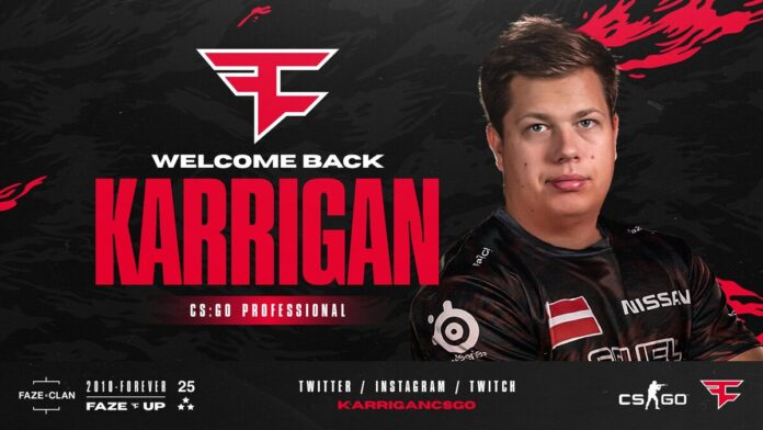 Karrigan returns to FaZe clan