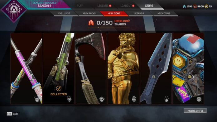 Apex Legends player loses 6 heirlooms