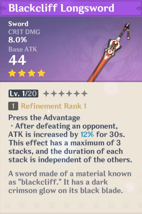 Genshin Impact Blackcliff Sword
