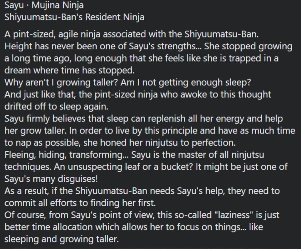 Sayu more info
