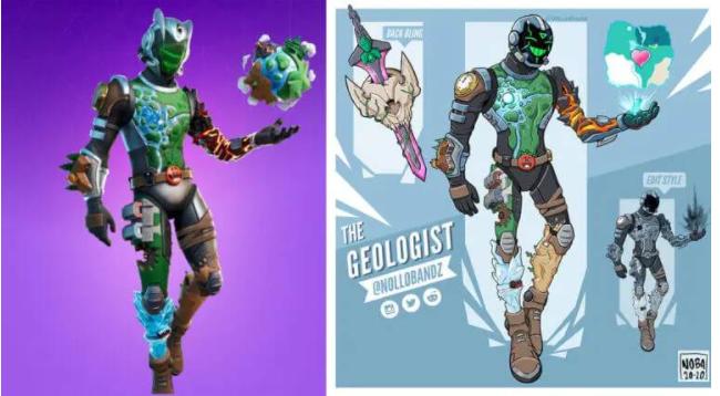 Fortnite Eco Skin(left), Nollobrandz concept (right)