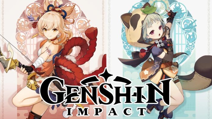 Genshin Impact Inazuma Characters Yoimiya and Sayu