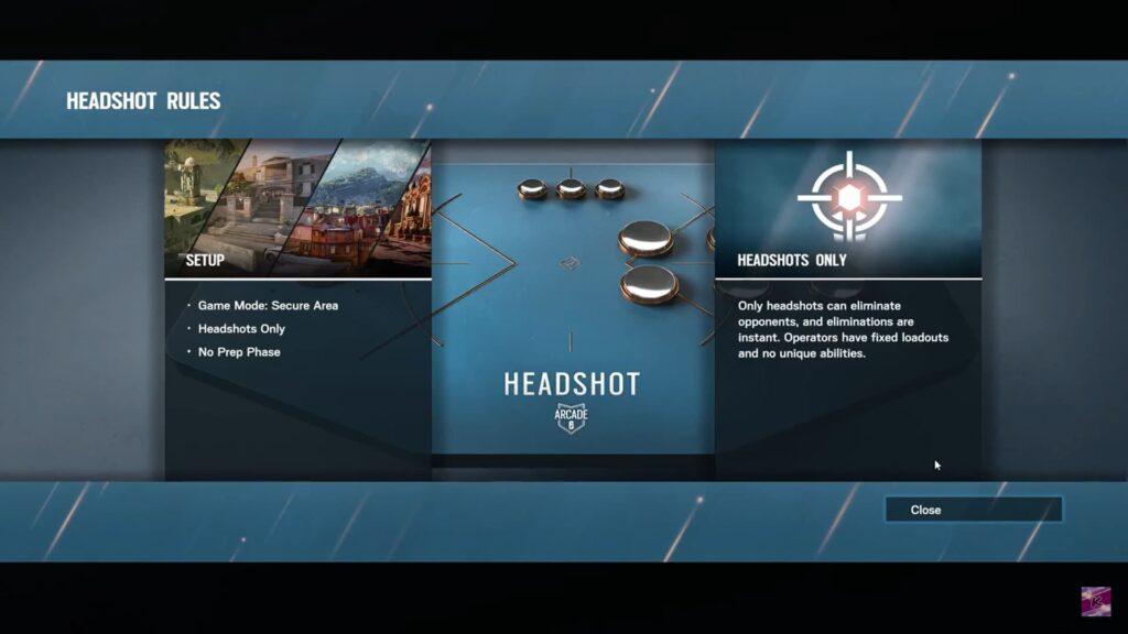 siege headshot arcade game mode