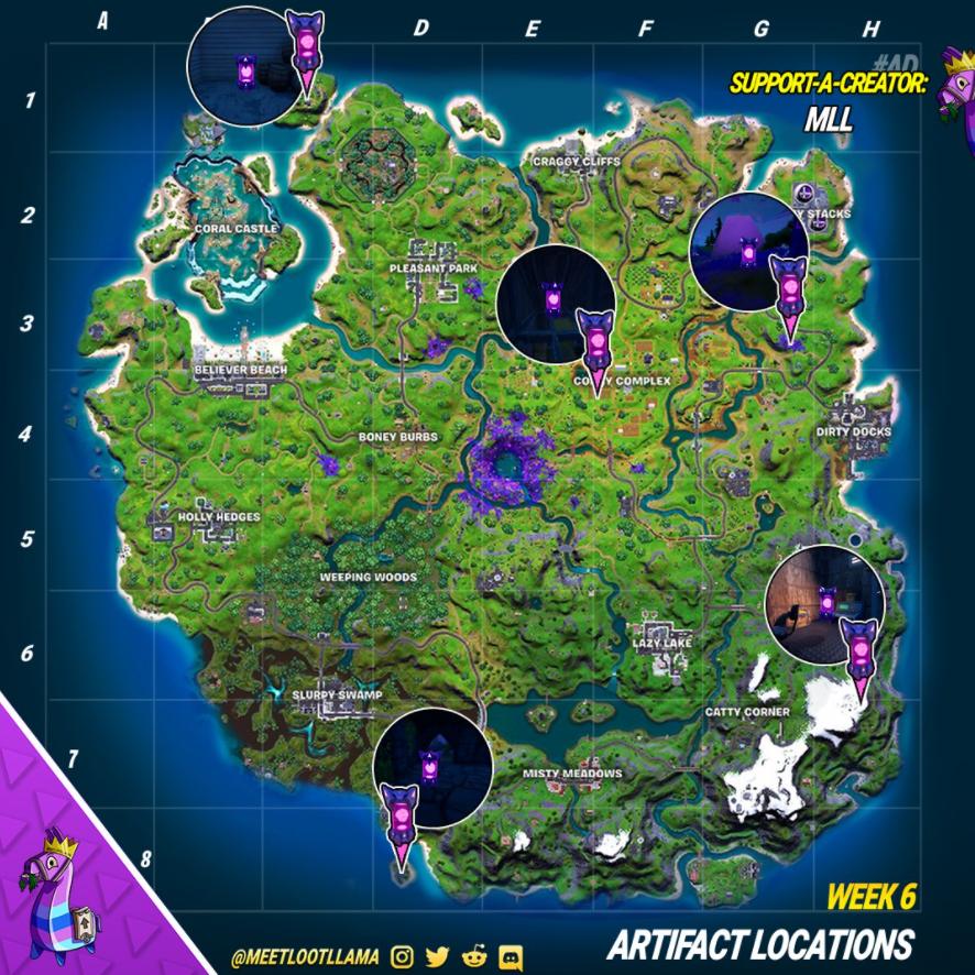 Fortnite SEason 7 Week 6 Alien Artifact Spawn Locations