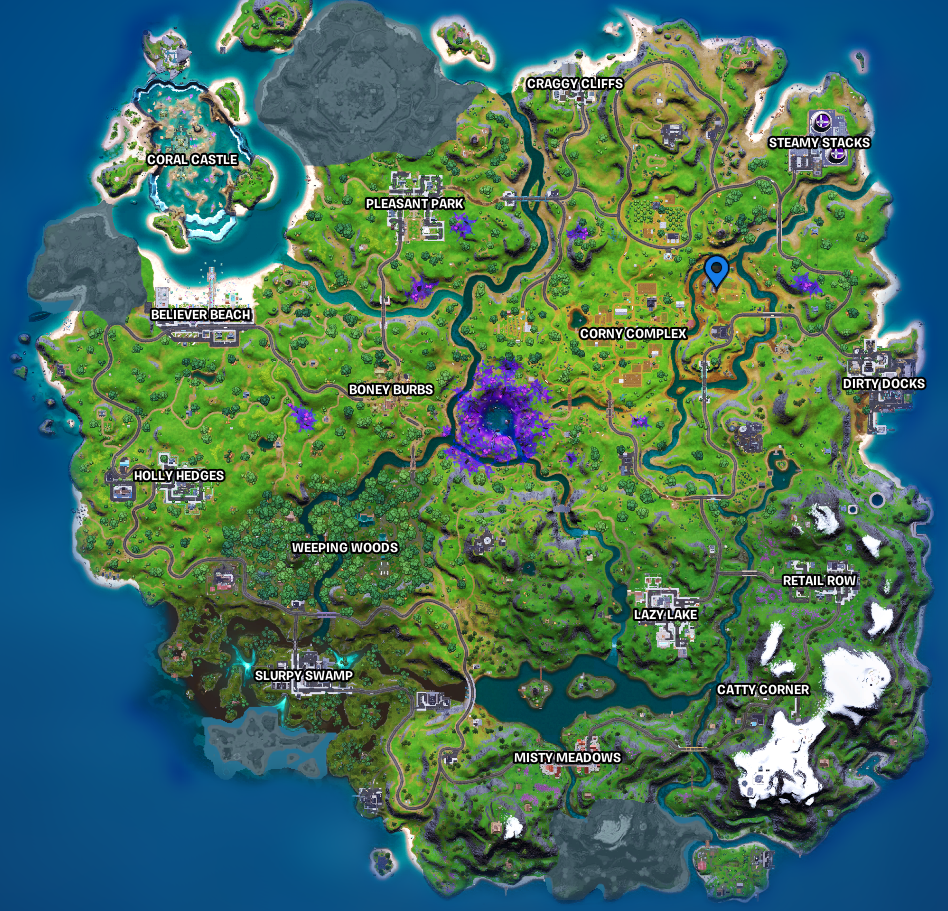 Fortnite Farm Location marked on map