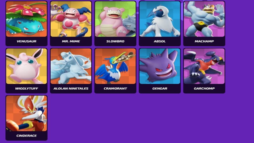 All Pokemons in Pokemon Unite