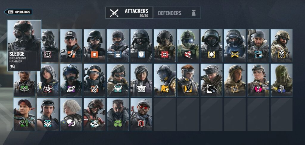 All attackers rainbow six siege