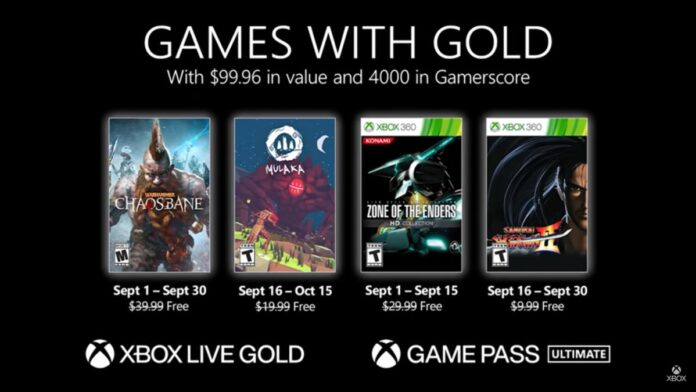 Xbox Live Games Gold September 2021