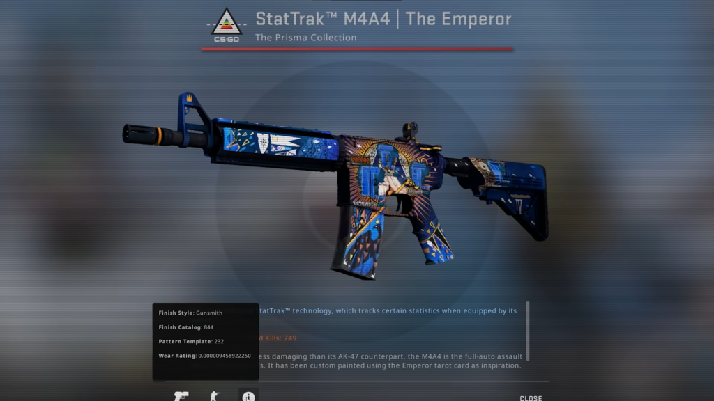StatTrack M4A4 | The Emperor FN with 4x Titan Holos