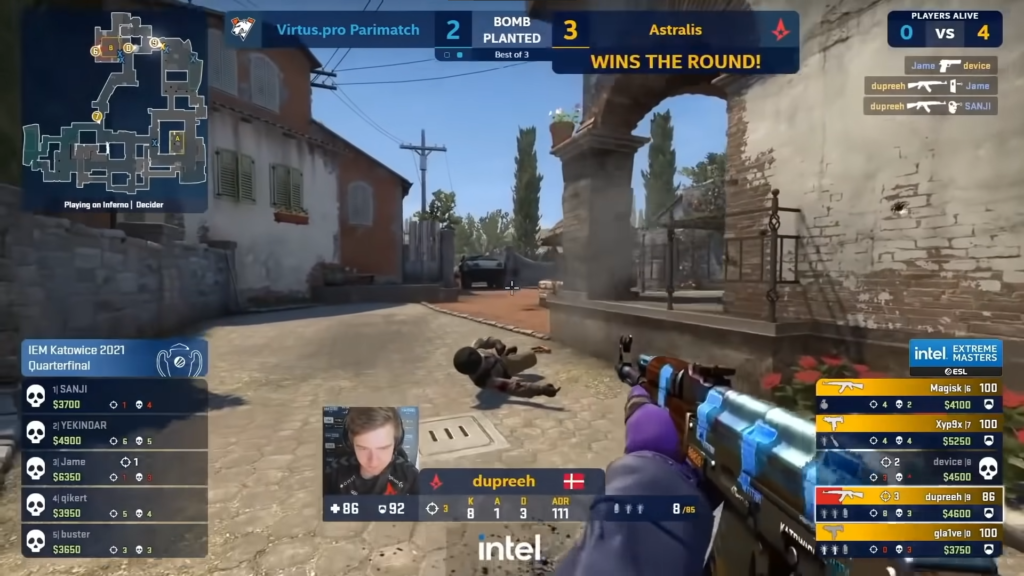 dupreeh using the Blue gem AK in the Astralis vs Virtus.Pro IEM Katowice 2021 qualifiers