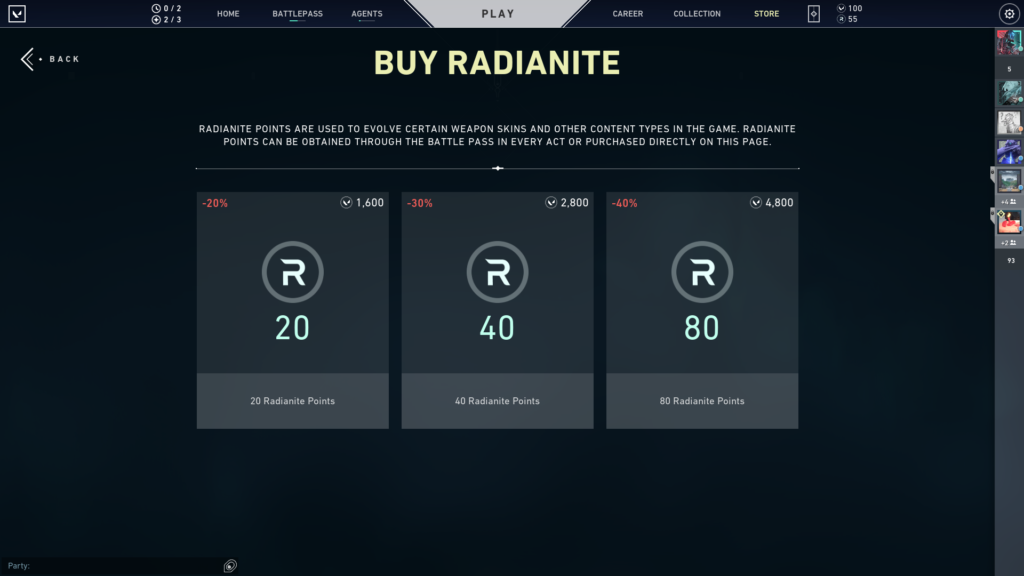 Buying Radianite Points from the shop