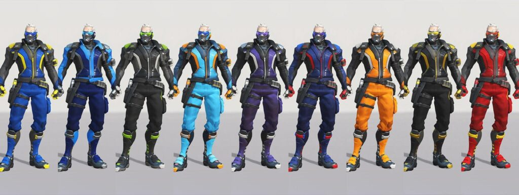 Soldier: 76 Overwatch league skins via u/goldhat16