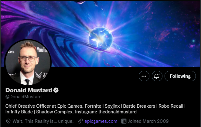 Donald Mustard's Twitter banner image and location hinting at Fortnite Season 8