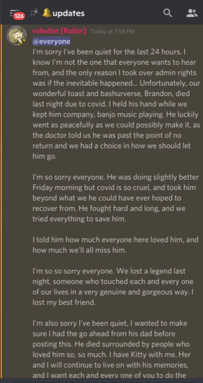 Bashuverse pass away announcement discord