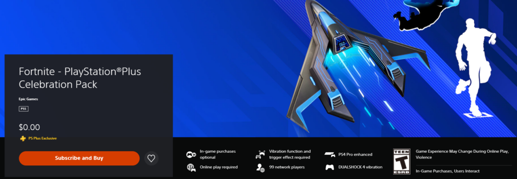 Fortnite PlayStation Plus Celebration Pack claim page
