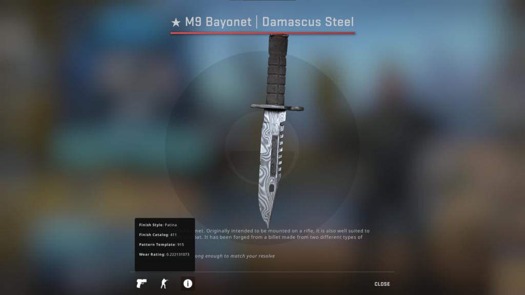 M9 Bayonet Damascus Steel FT