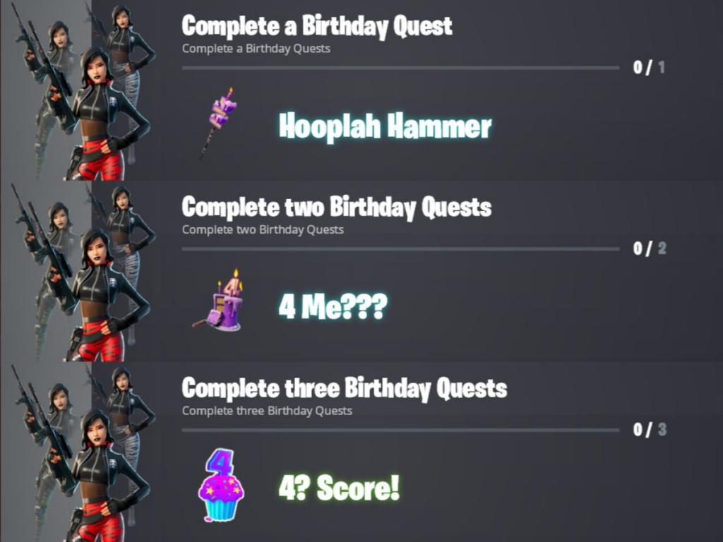 Fortnite 4th Birthday Challenges