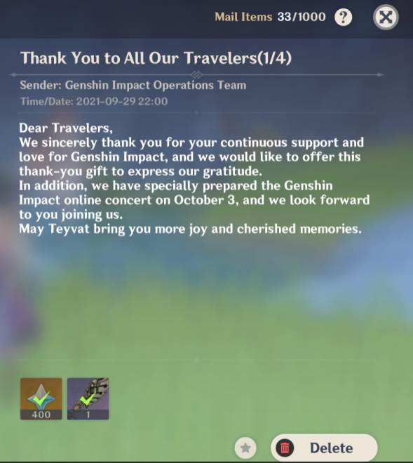 Genshin Impact Anniversary Reward email