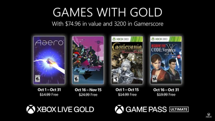 Xbox Live Games with Gold for October 2021