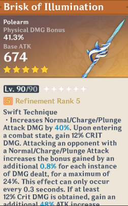 Genshin Impact Brisk of Illumination 5* weapon leak